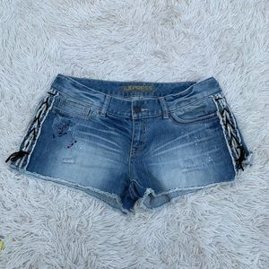 EXPRESS SHORT JEAN DENIM SHORTS LACE UP SIDES